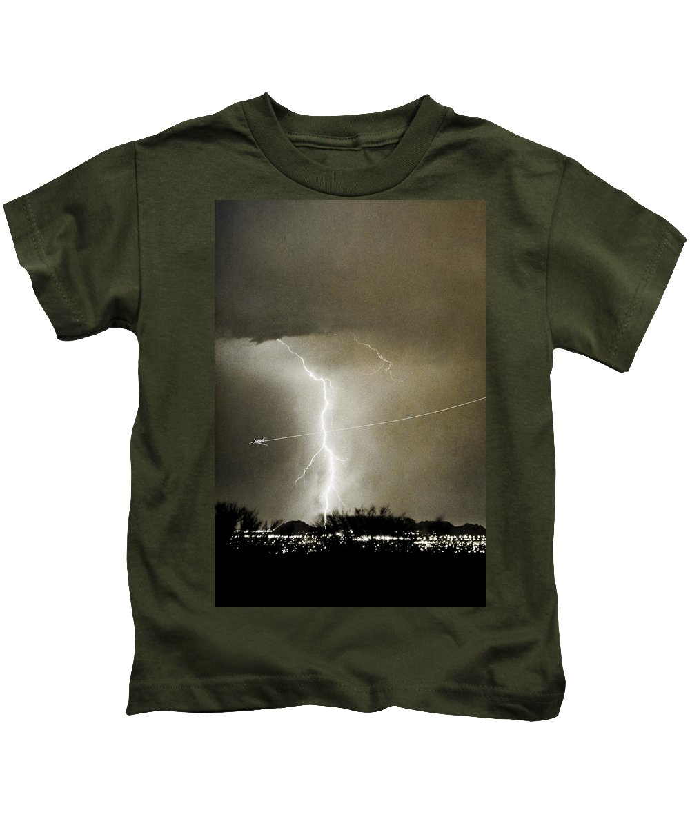 Lightning Kids T-Shirt featuring the photograph Lightning Storm City Lights Jet Airplane Fine Art Photography by James BO Insogna