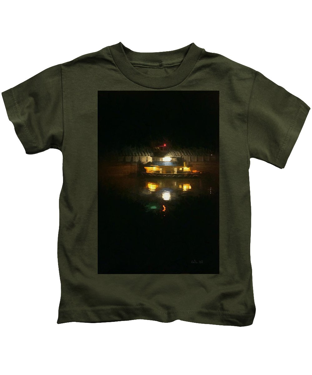 River Dock At Night Kids T-Shirt featuring the photograph Lights On Dark Water The Mississippi by Marty Malliton