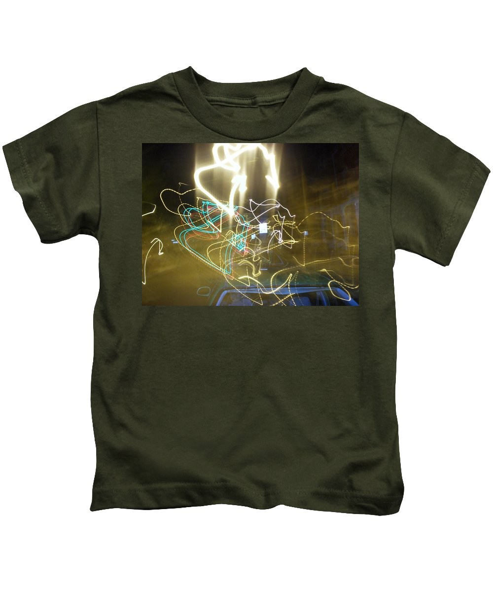 Photograph Kids T-Shirt featuring the photograph Lights That Attack Cars by Thomas Valentine