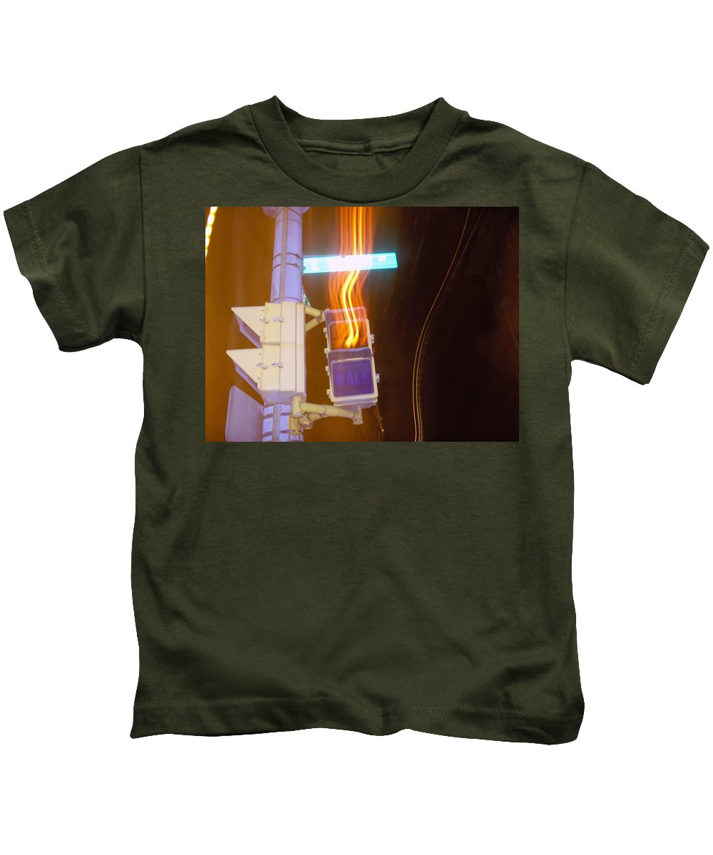 Photograph Kids T-Shirt featuring the photograph Lights That Eat Do Not Walk Signals by Thomas Valentine