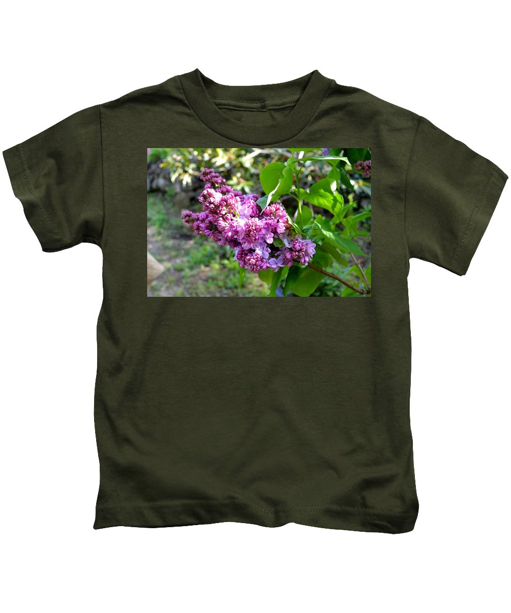 Lilac Tree.flower.nature.springtime.outdoors. Kids T-Shirt featuring the photograph Lilac Branch by Nato Lobzhanidze