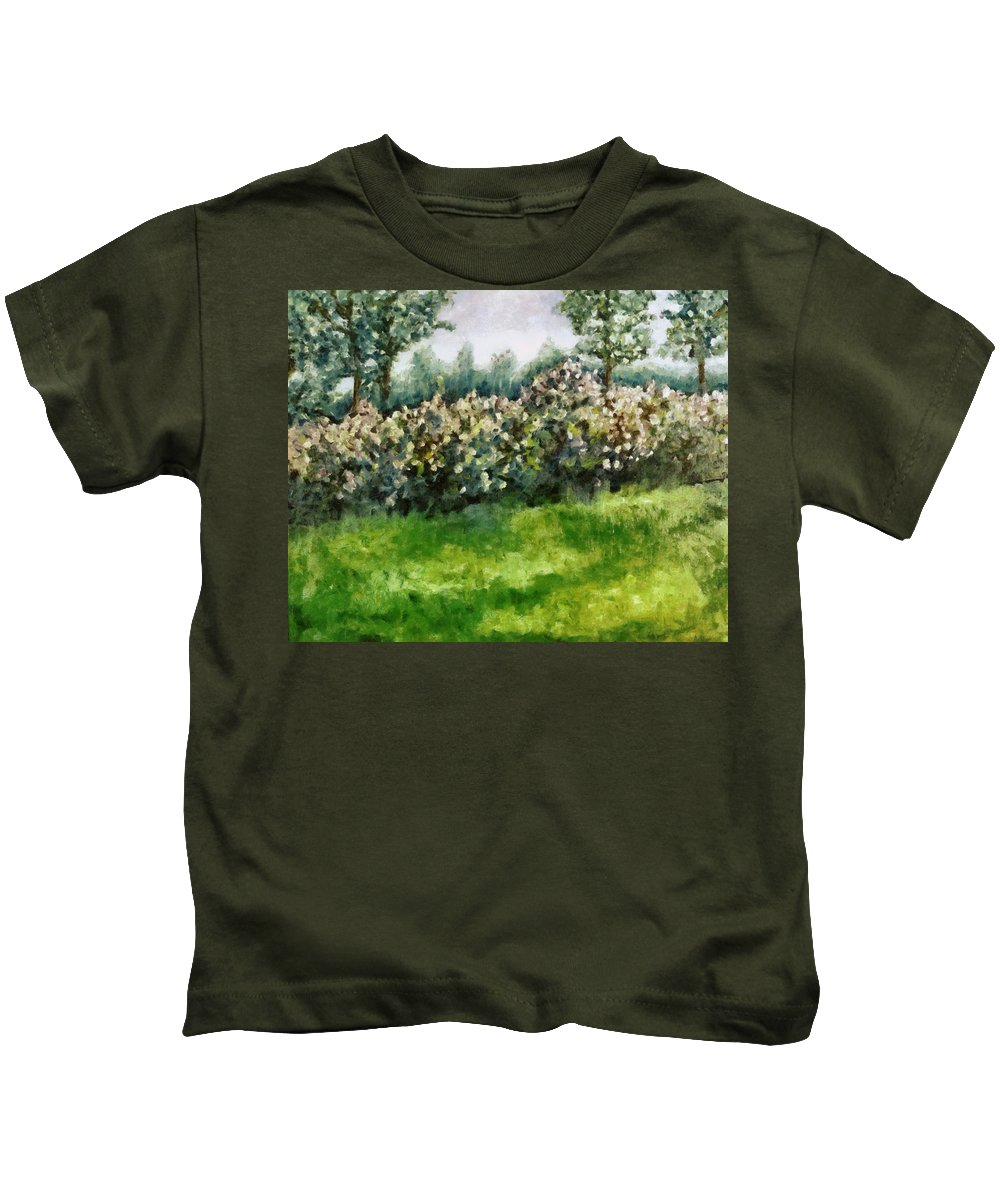 Spring Kids T-Shirt featuring the painting Lilac Bushes In Springtime by Michelle Calkins