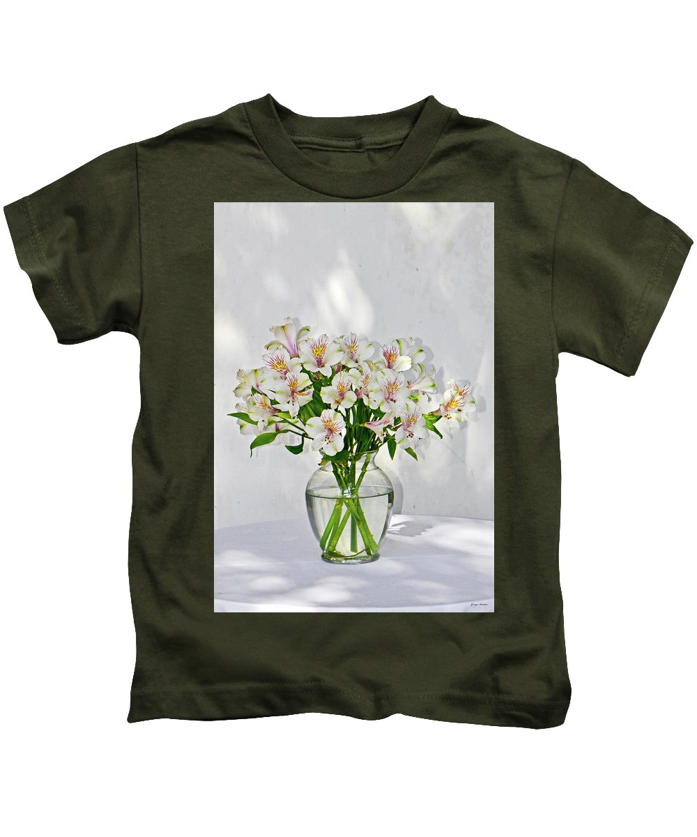 Lilies Kids T-Shirt featuring the photograph Lilies In A Vase 001 by George Bostian