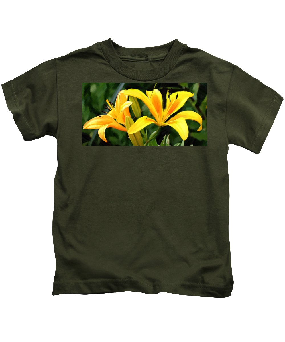 Lily Kids T-Shirt featuring the painting Lily - Id 16217-152041-9998 by S Lurk
