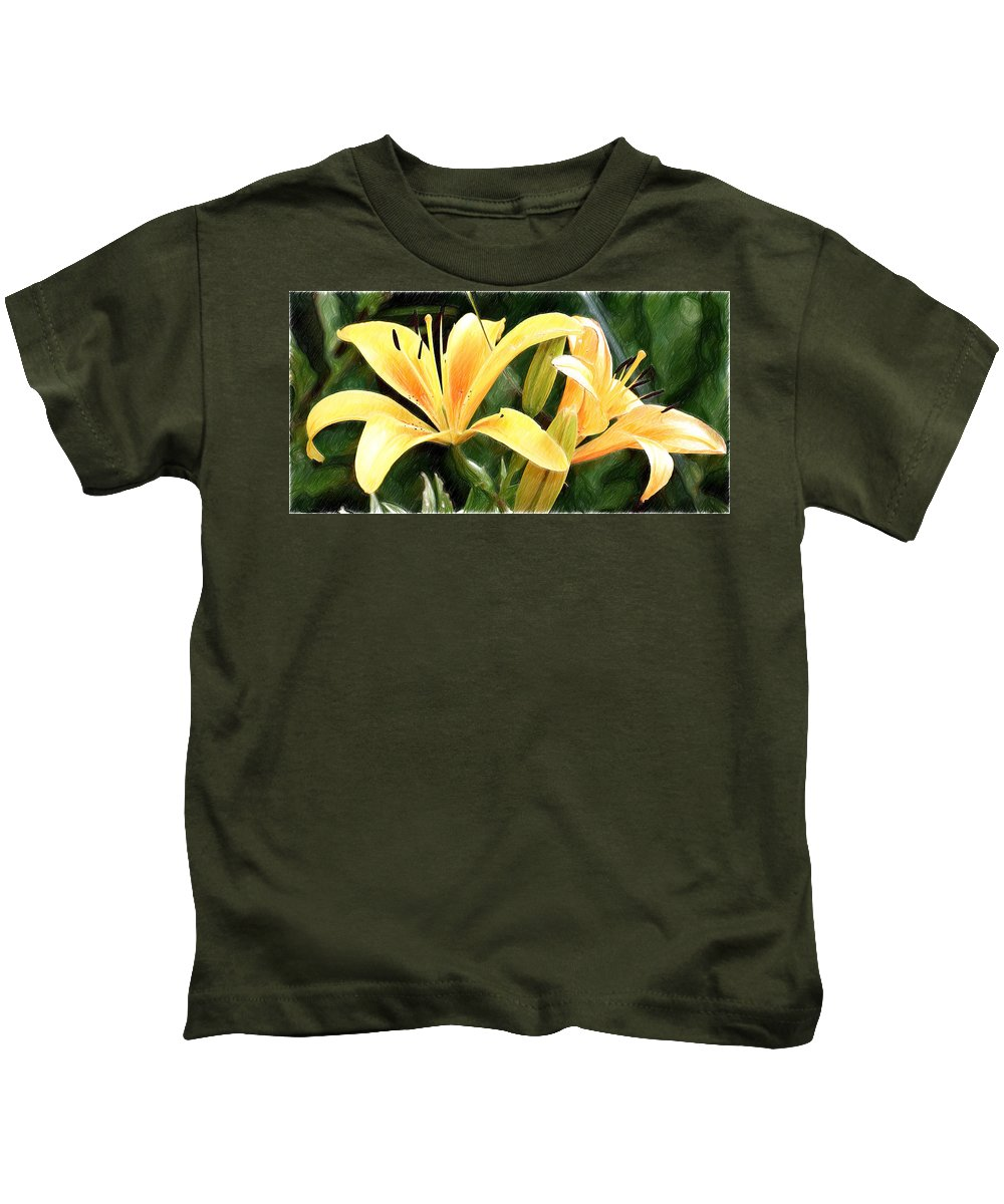 Lily Kids T-Shirt featuring the painting Lily - Id 16217-152100-9584 by S Lurk