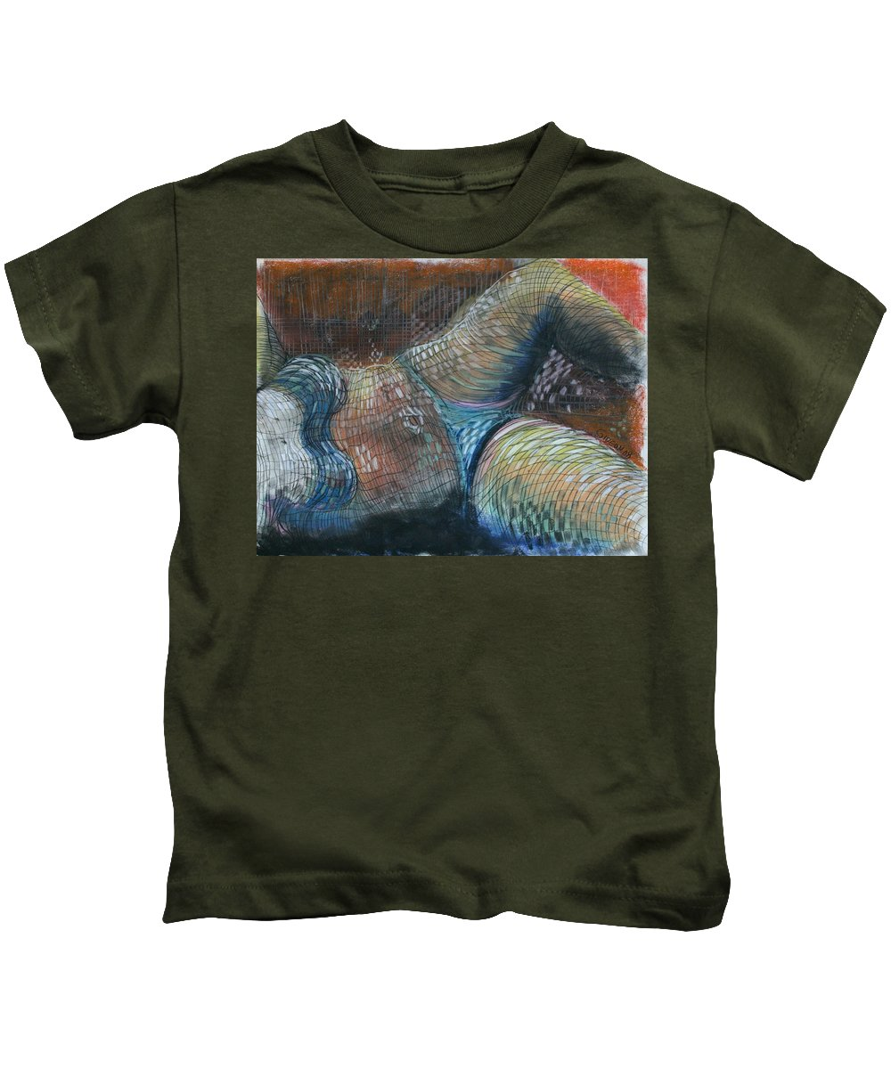 Painting Kids T-Shirt featuring the drawing Lines And Curves Vi by Gideon Cohn