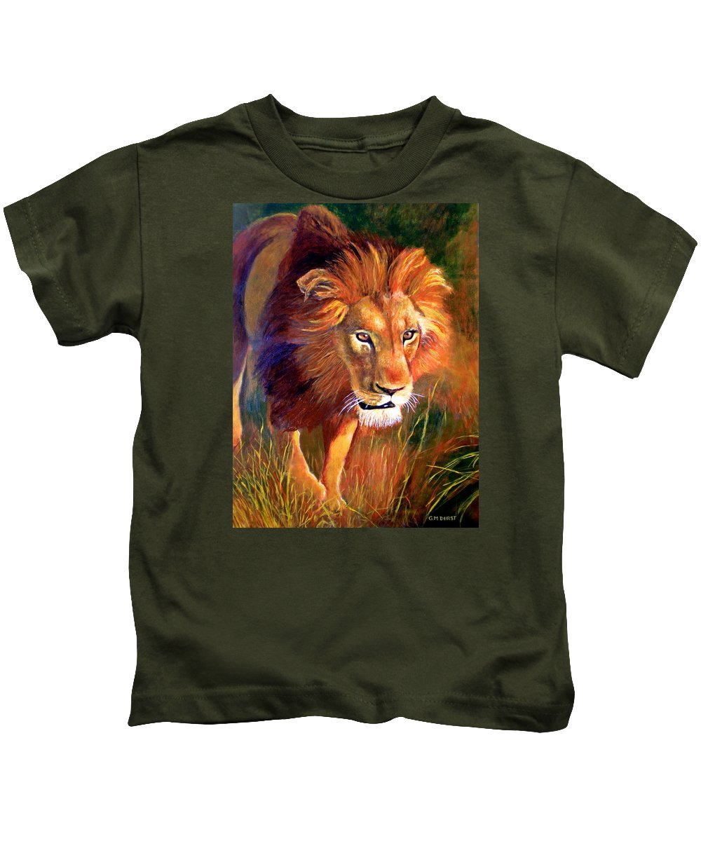 Lion Kids T-Shirt featuring the painting Lion At Sunset by Michael Durst