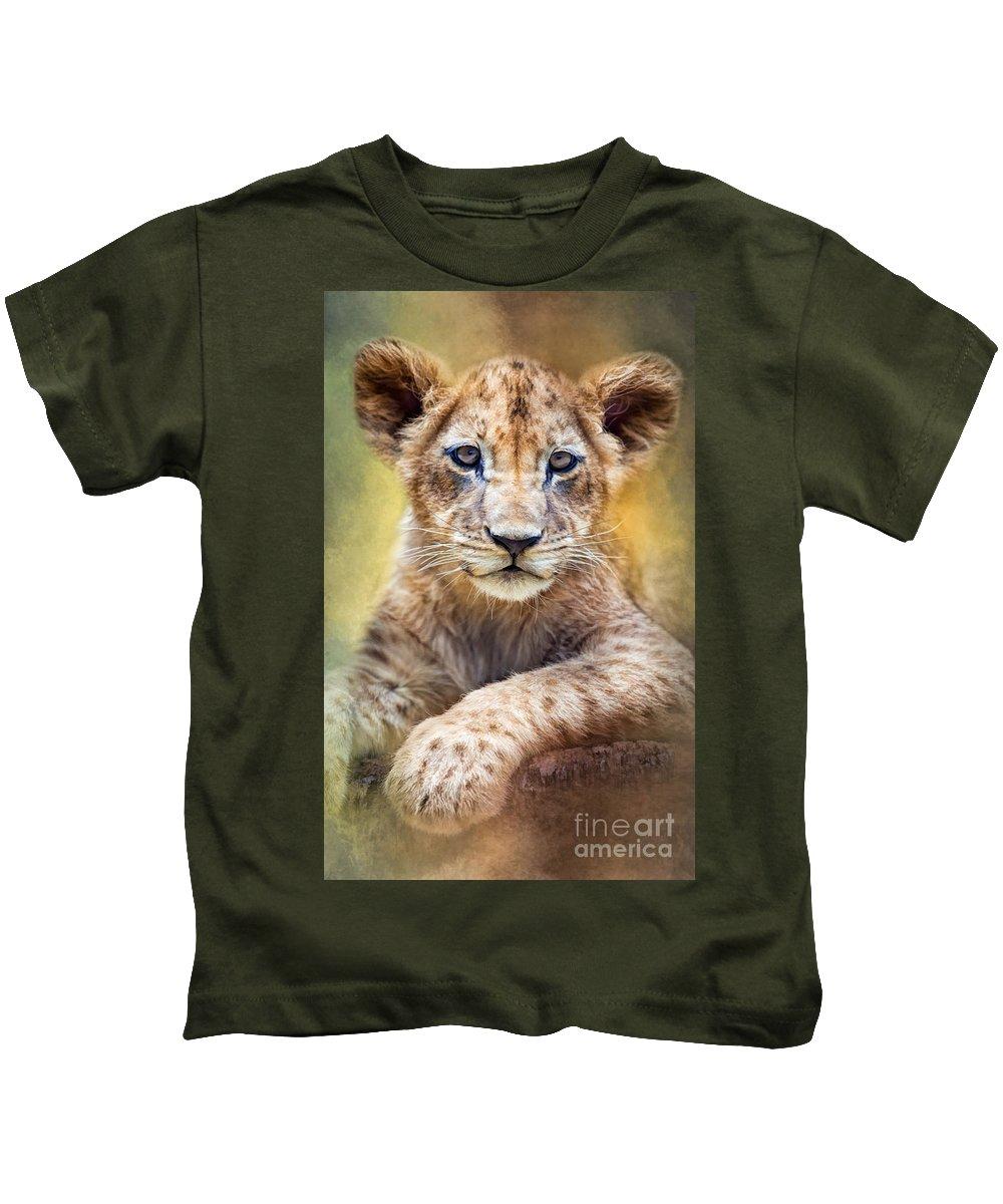 Lion Kids T-Shirt featuring the digital art Lion Cub by Marco Fischer