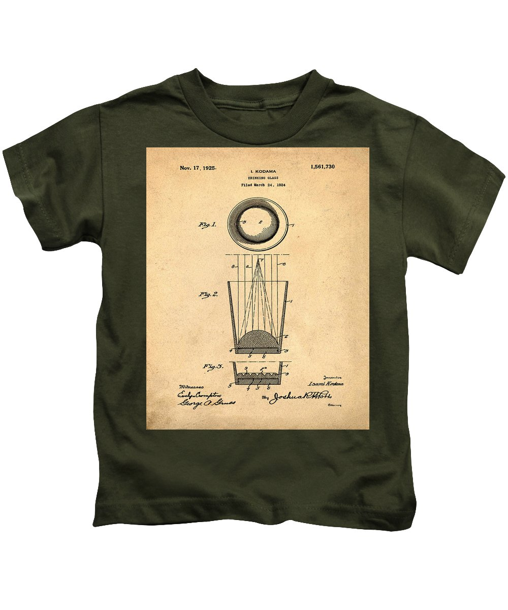 Liquer Kids T-Shirt featuring the photograph Liquershot Glass Patent 1925 Sepia by Bill Cannon