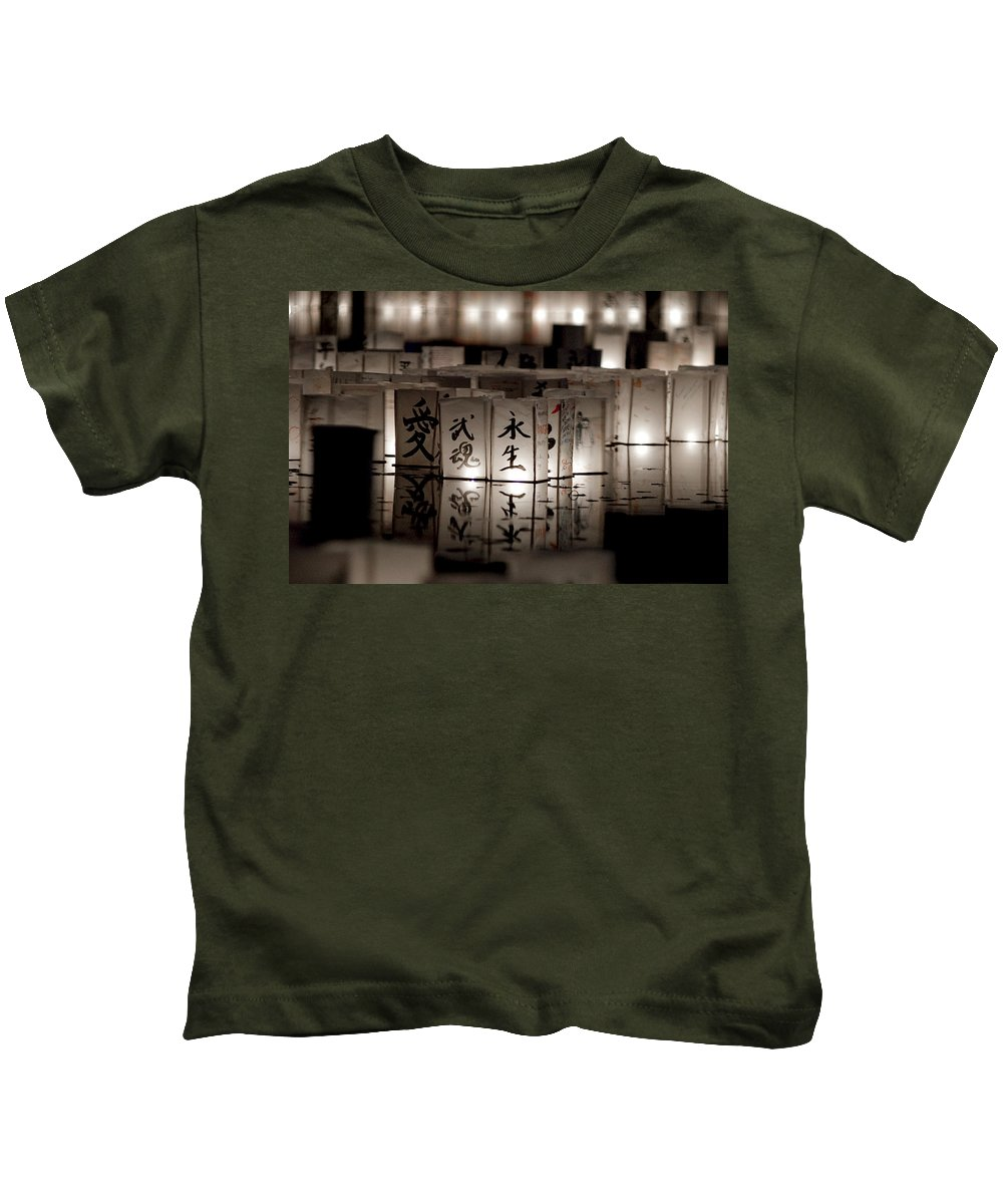 Japanese Lanterns Kids T-Shirt featuring the photograph Lit Memories by Greg Fortier