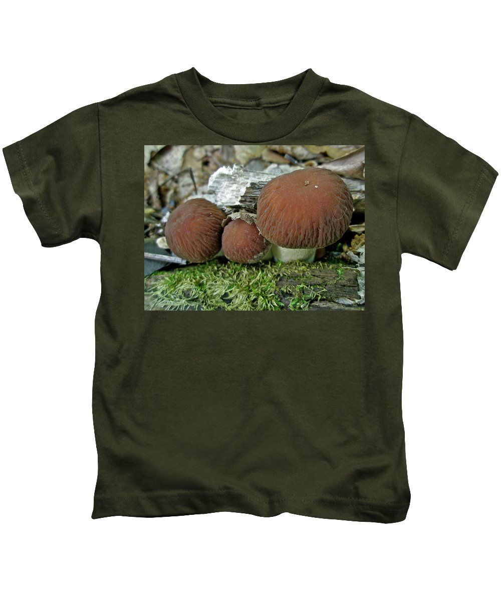 Mushroom Kids T-Shirt featuring the photograph Little Brown Mushrooms In Moss by Mother Nature