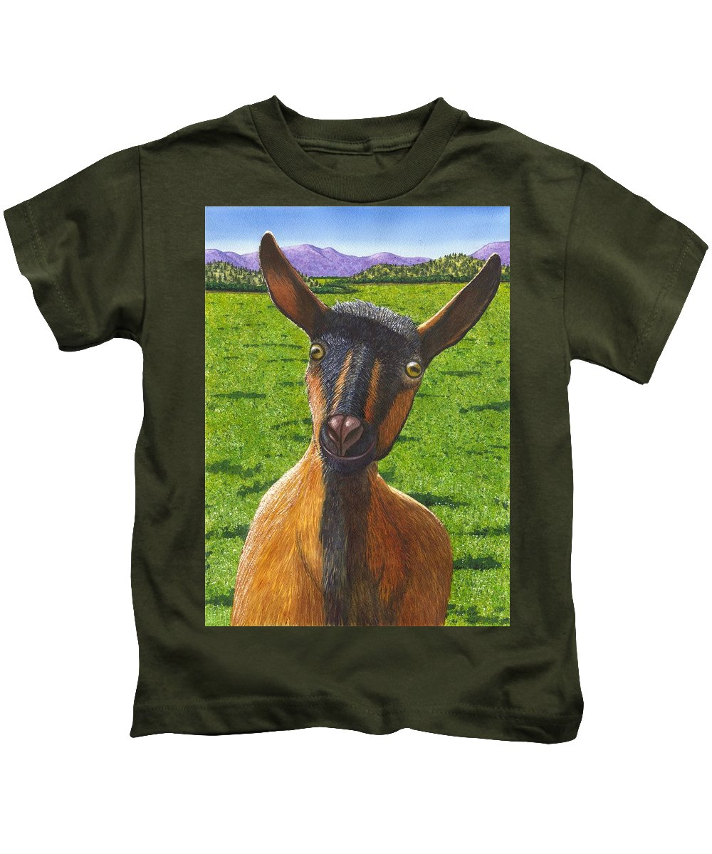 Goat Kids T-Shirt featuring the painting Little Goat by Catherine G McElroy