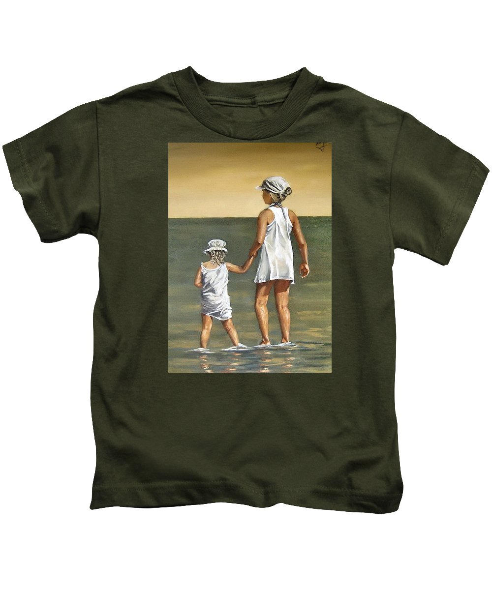 Little Girl Reflection Girls Kids Figurative Water Sea Seascape Children Portrait Kids T-Shirt featuring the painting Little Sisters by Natalia Tejera
