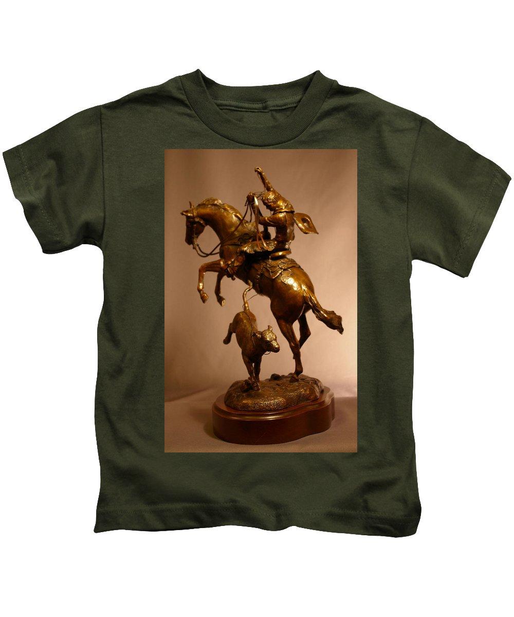 Bronze Kids T-Shirt featuring the sculpture Little Stinker Bronze Horse Western Sculpture by Kim Corpany