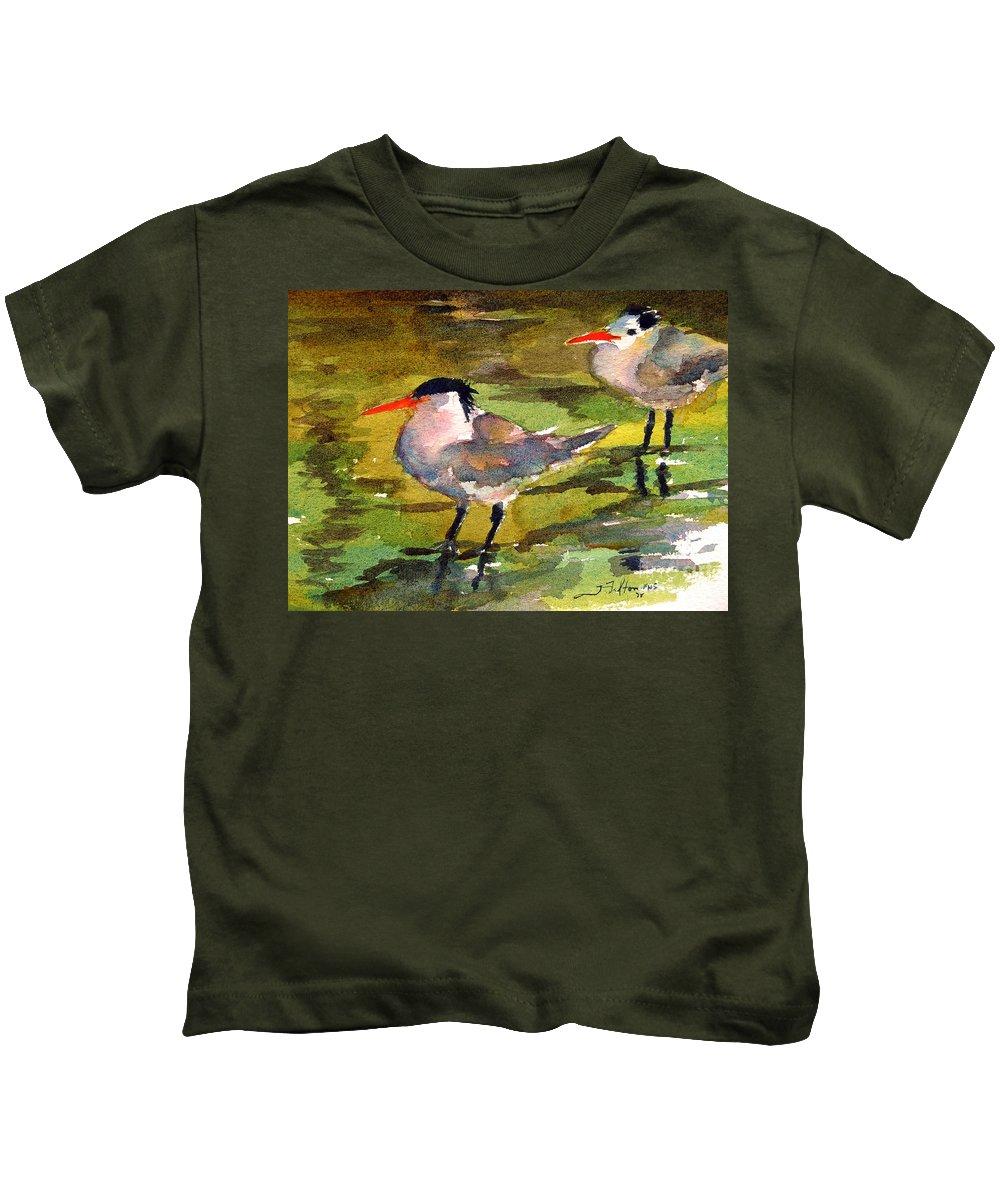 Seabirds Kids T-Shirt featuring the painting Little Terns by Julianne Felton