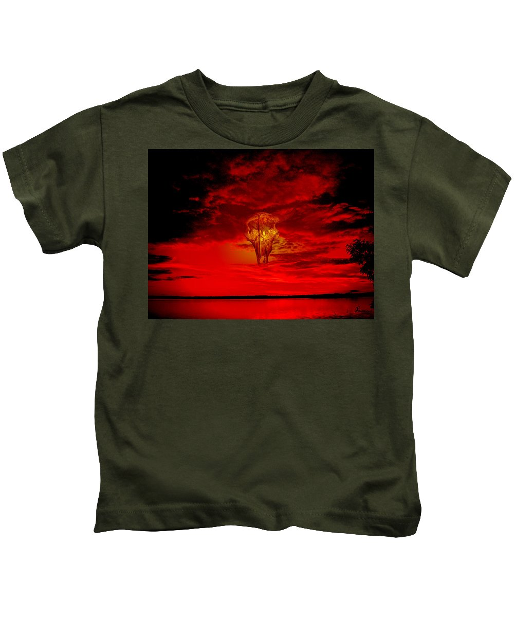 Skull Sky Red Dawn Buffalo Clouds Cloudy Nature Bison Water Skyline Waterscape Kids T-Shirt featuring the photograph Living Sky by Andrea Lawrence