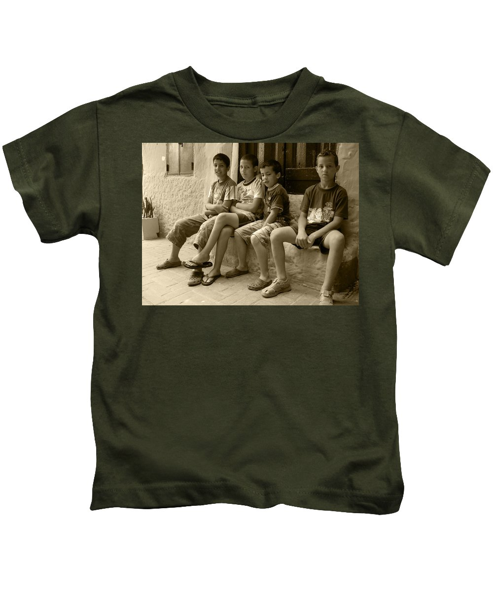 Sepia Kids T-Shirt featuring the photograph Local Gossip by Fay Lawrence