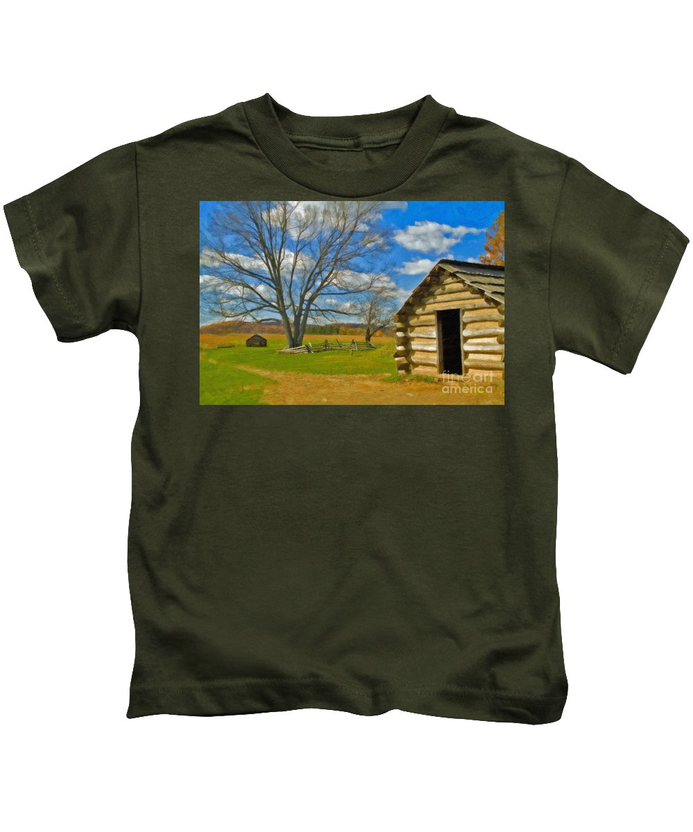 Valley Forge Kids T-Shirt featuring the photograph Log Cabin Valley Forge Pa by David Zanzinger