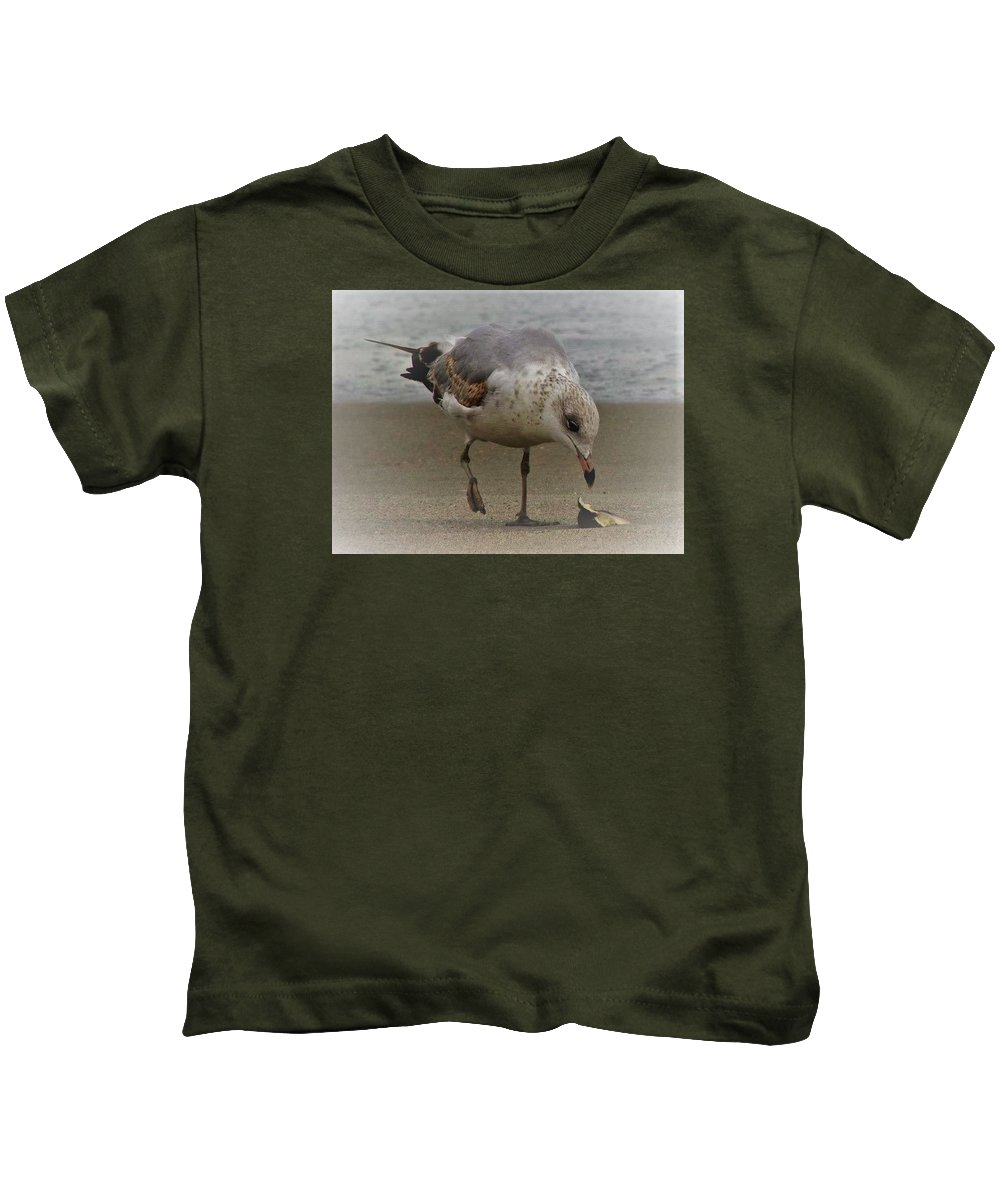Seagull Kids T-Shirt featuring the photograph Lone Seagull by Judith L Schade