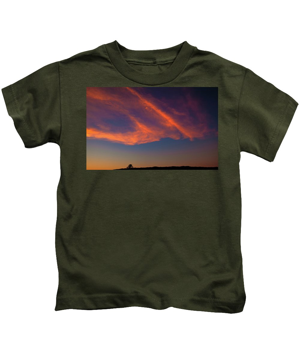 Lone Tree Kids T-Shirt featuring the photograph Lone Tree And Twilight Clouds by Irwin Barrett