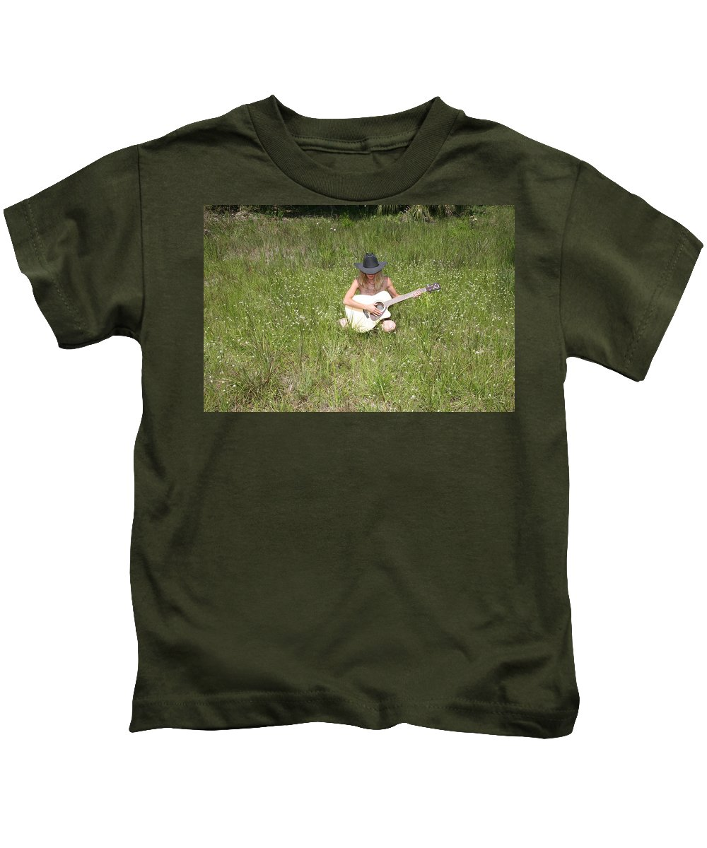 Lucky Cole Everglades Photographer Kids T-Shirt featuring the photograph Lonely Guitar Two by Lucky Cole