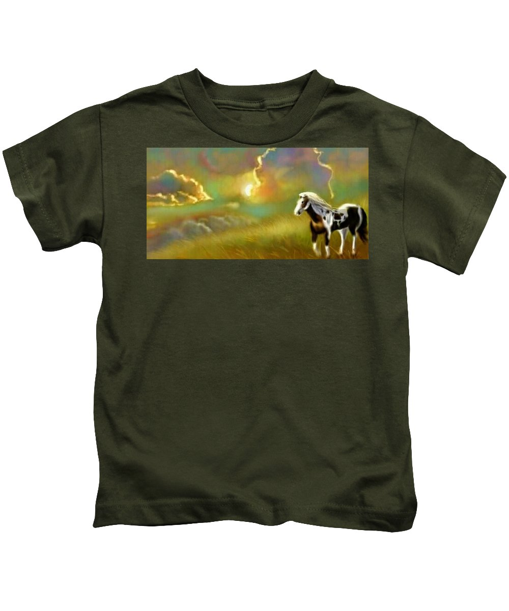 Horse Kids T-Shirt featuring the digital art Lonely Sunset by Susan Pannell