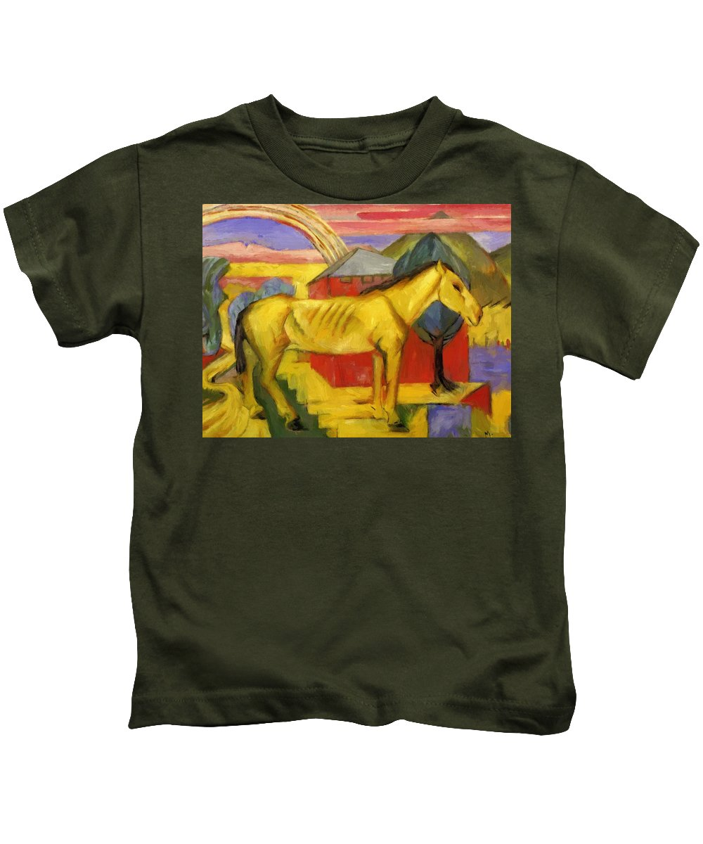 Long Kids T-Shirt featuring the painting Long Yellow Horse 1913 by Marc Franz