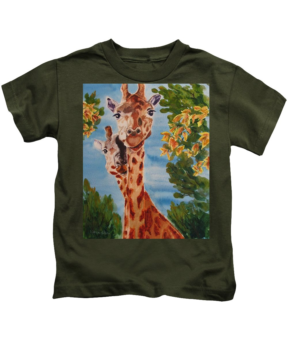 Giraffes Kids T-Shirt featuring the painting Lookin Back by Karen Ilari