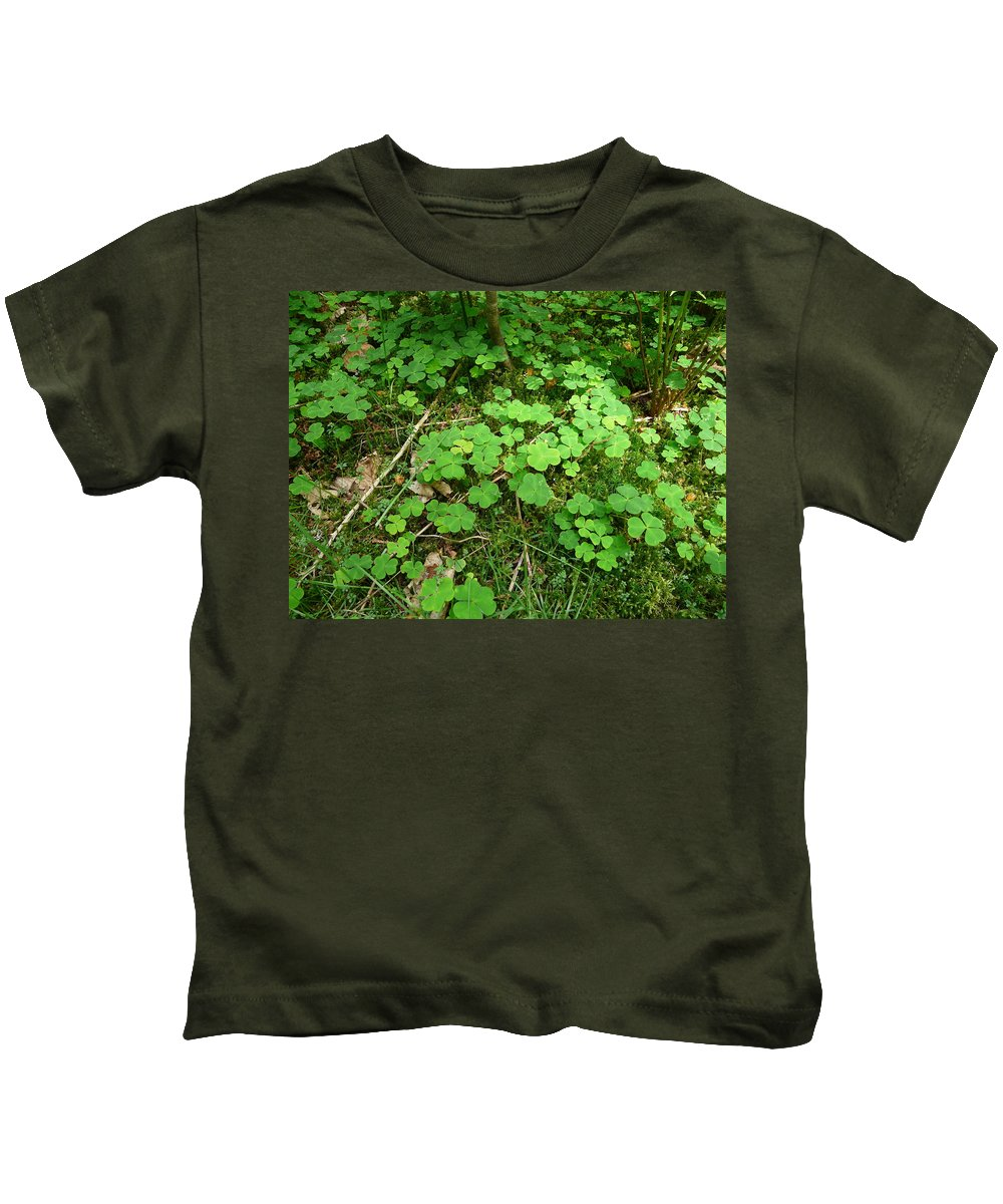 Clover Kids T-Shirt featuring the photograph Looking For A Four-leaf Clover by Valerie Ornstein