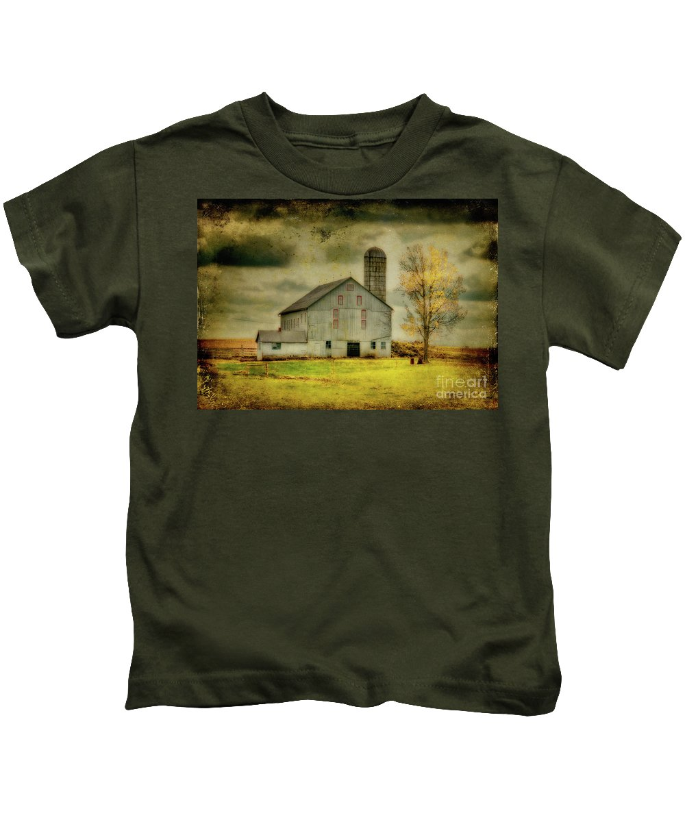 Barns Kids T-Shirt featuring the photograph Looking For Dorothy by Lois Bryan