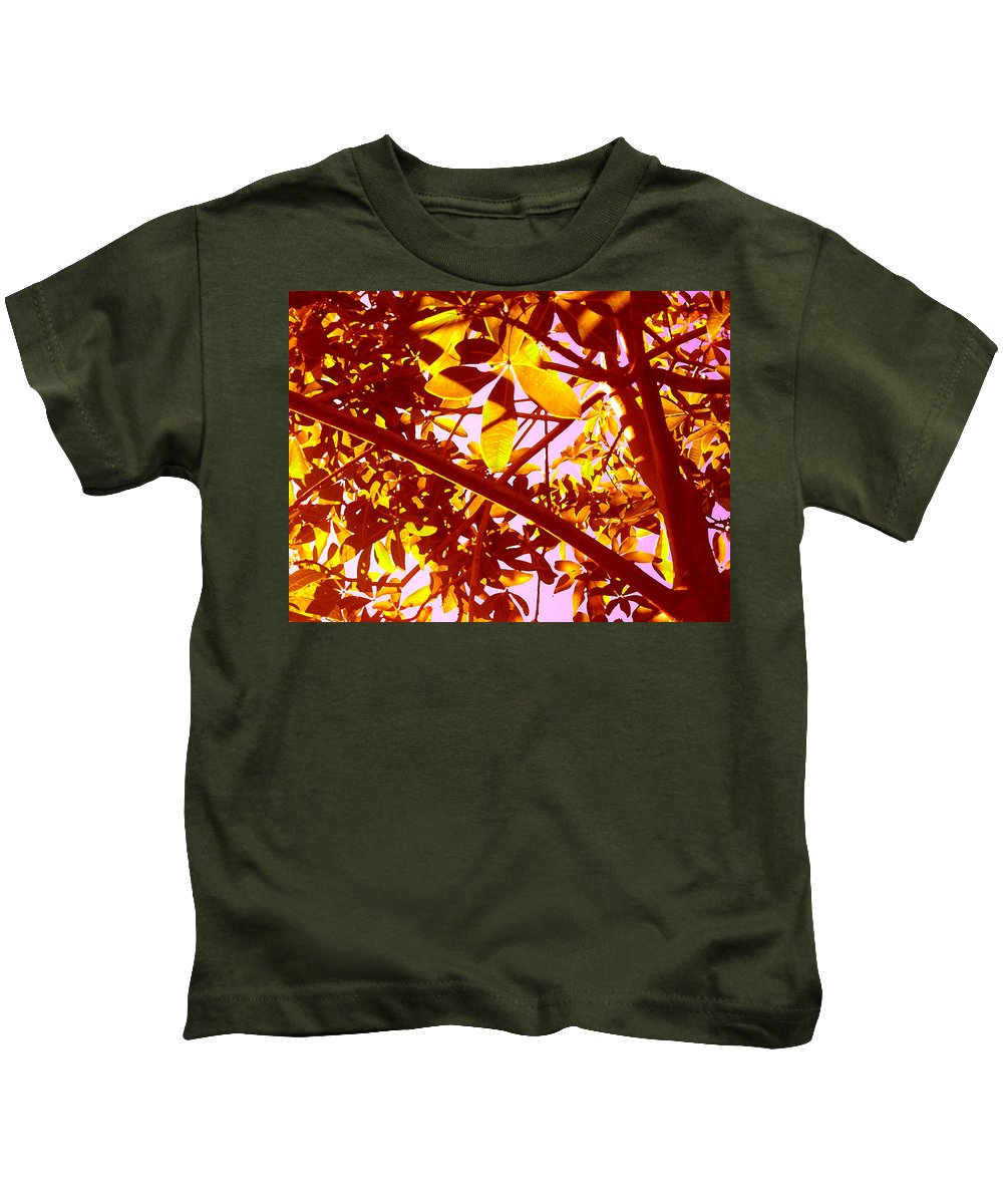 Garden Kids T-Shirt featuring the painting Looking Through Tree Leaves 2 by Amy Vangsgard