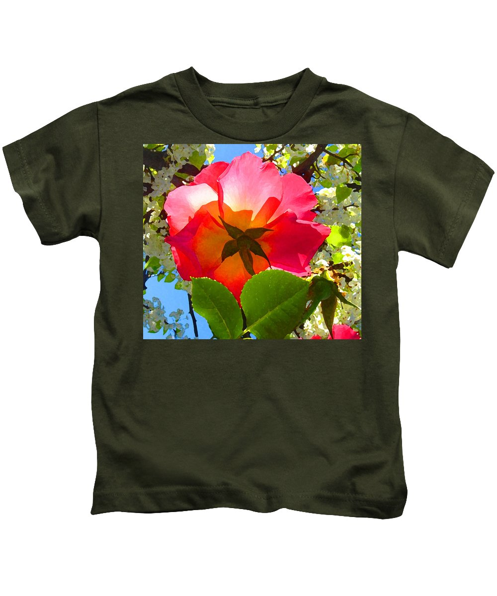 Roses Kids T-Shirt featuring the photograph Looking Up At Rose And Tree by Amy Vangsgard
