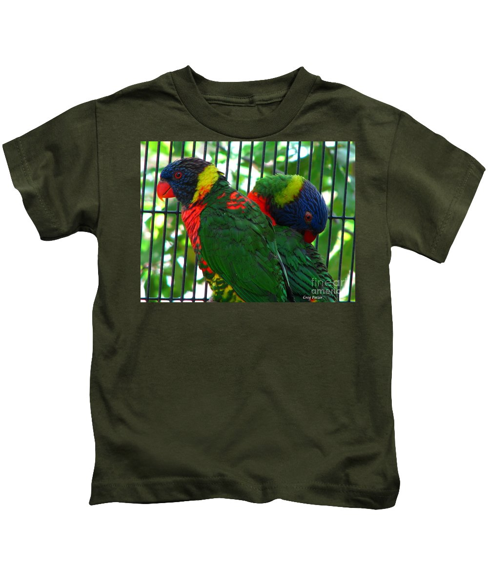 Patzer Kids T-Shirt featuring the photograph Lory by Greg Patzer