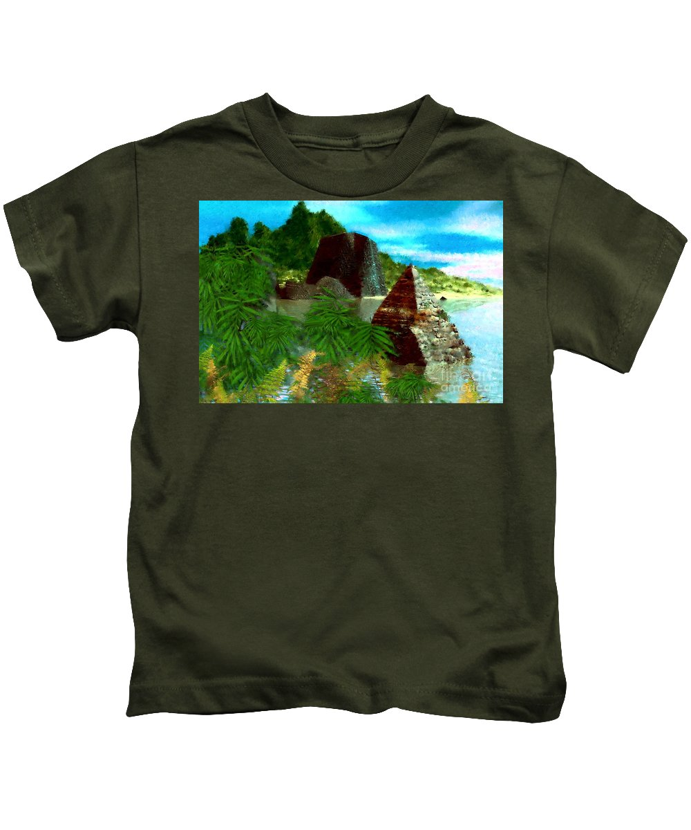 Digital Fantasy Painting Kids T-Shirt featuring the digital art Lost City by David Lane