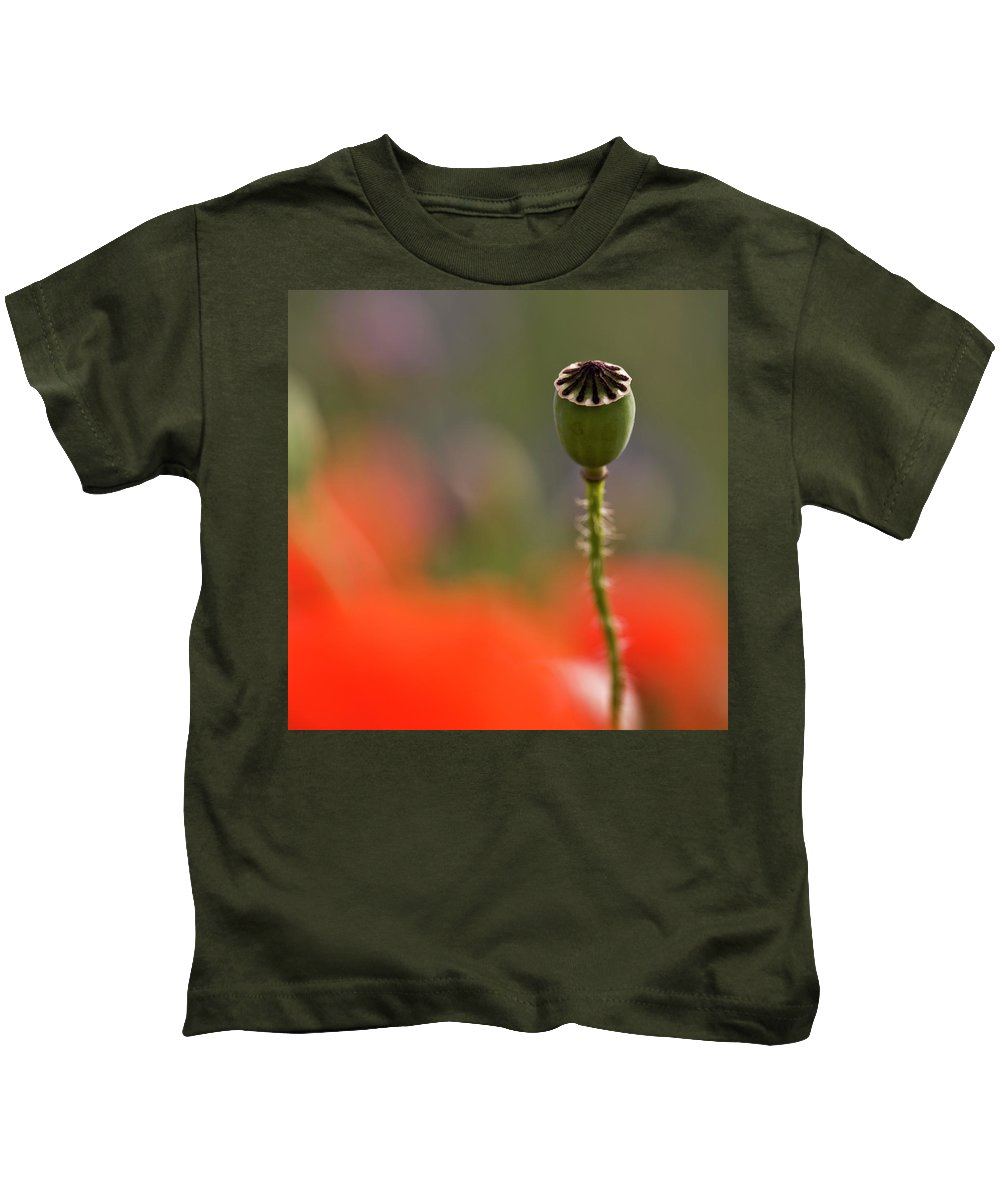 Poppy Kids T-Shirt featuring the photograph Lost In The Field by Heiko Koehrer-Wagner