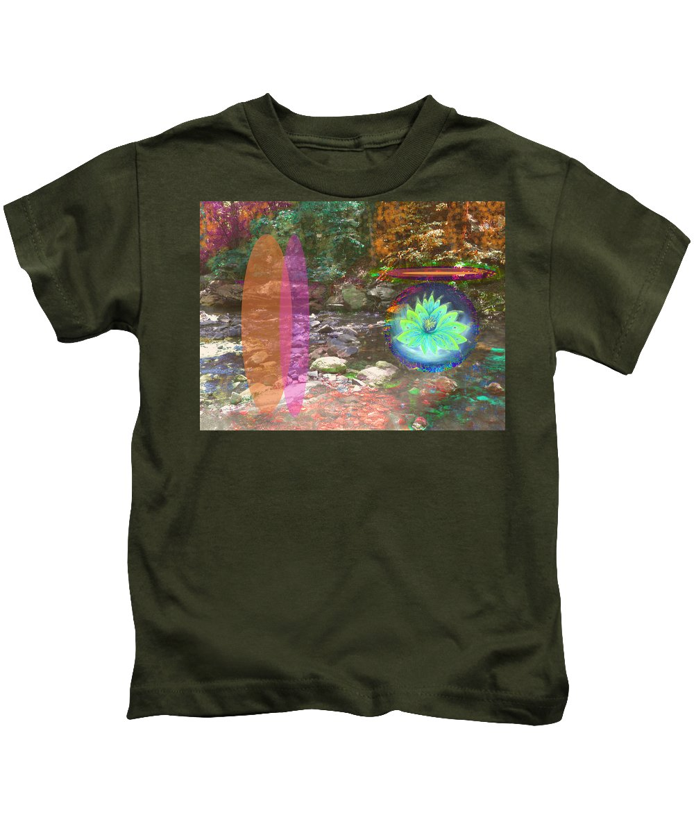 Lotus Kids T-Shirt featuring the mixed media Lotus Of The Creek by Anne Cameron Cutri