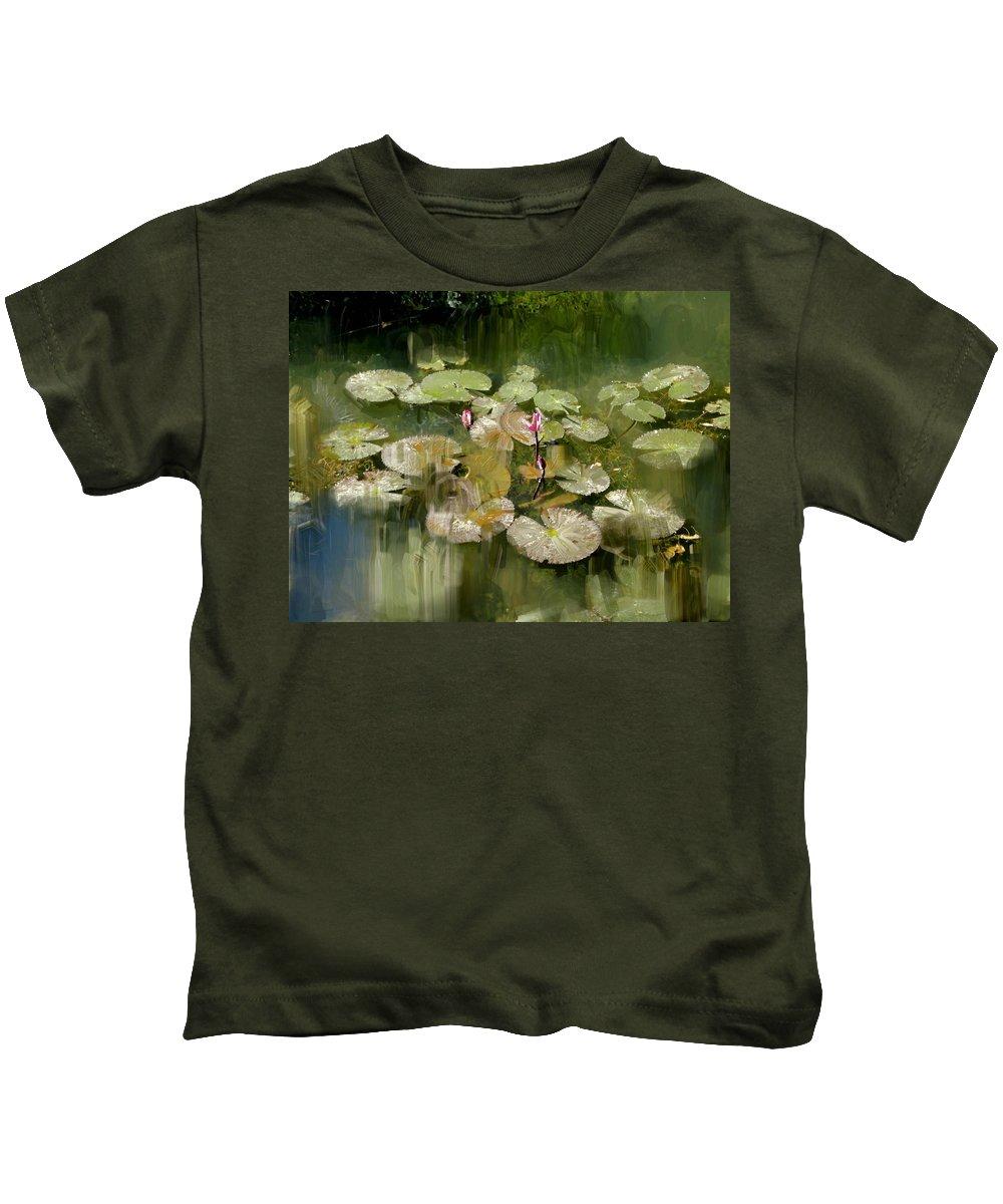 Lotus Kids T-Shirt featuring the painting Lotus Pond 1 by Usha Shantharam