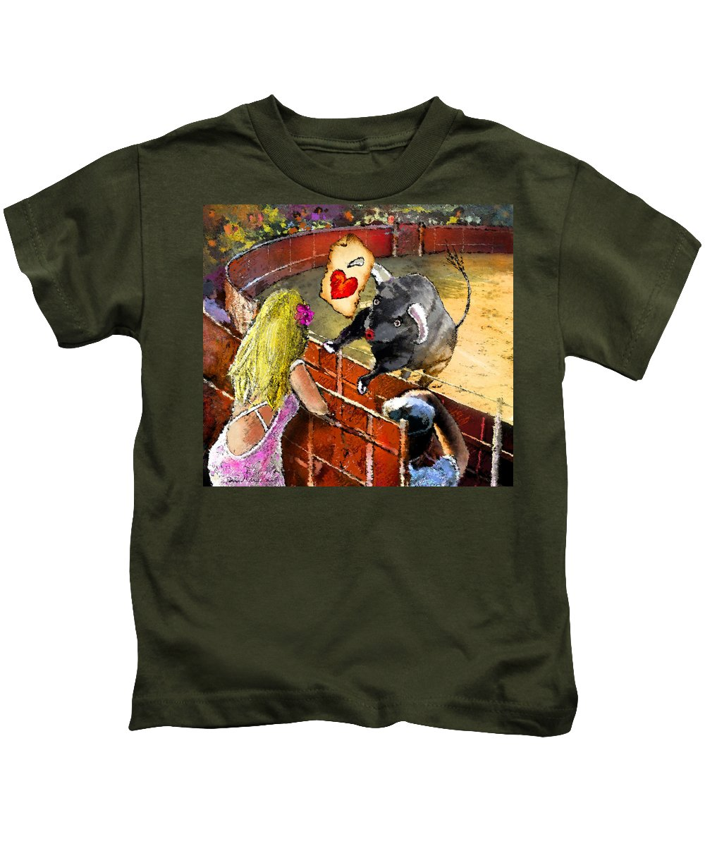 Bullfight Kids T-Shirt featuring the painting Lova Bull by Miki De Goodaboom
