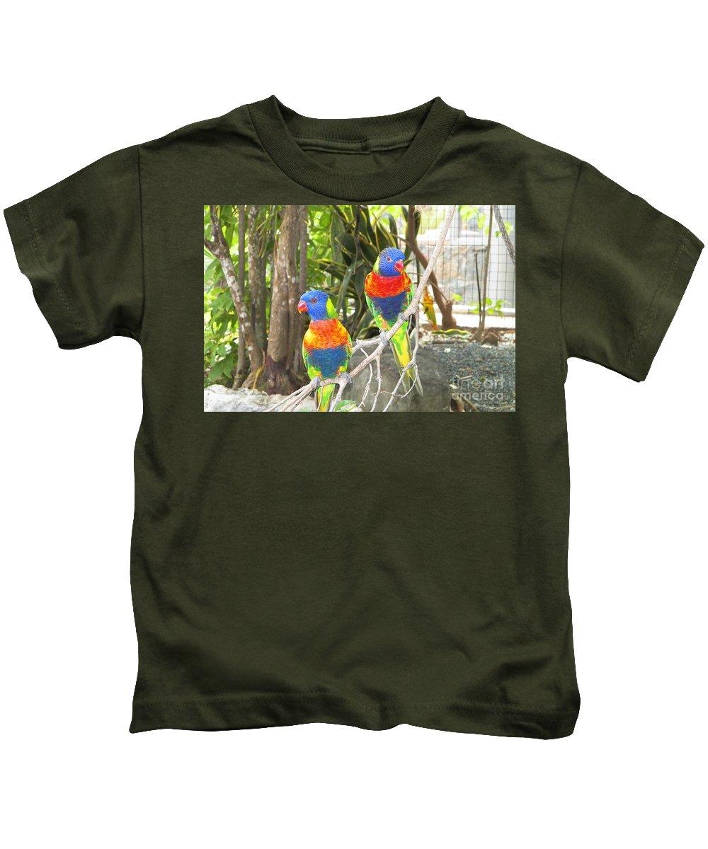 Lorikeets Kids T-Shirt featuring the photograph Love Birds by Gina Sullivan