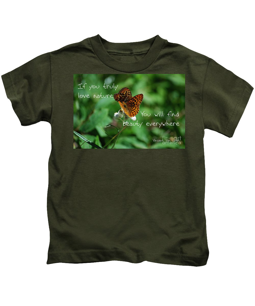 Butterflies Kids T-Shirt featuring the photograph Love Of Nature by Sharon Elliott