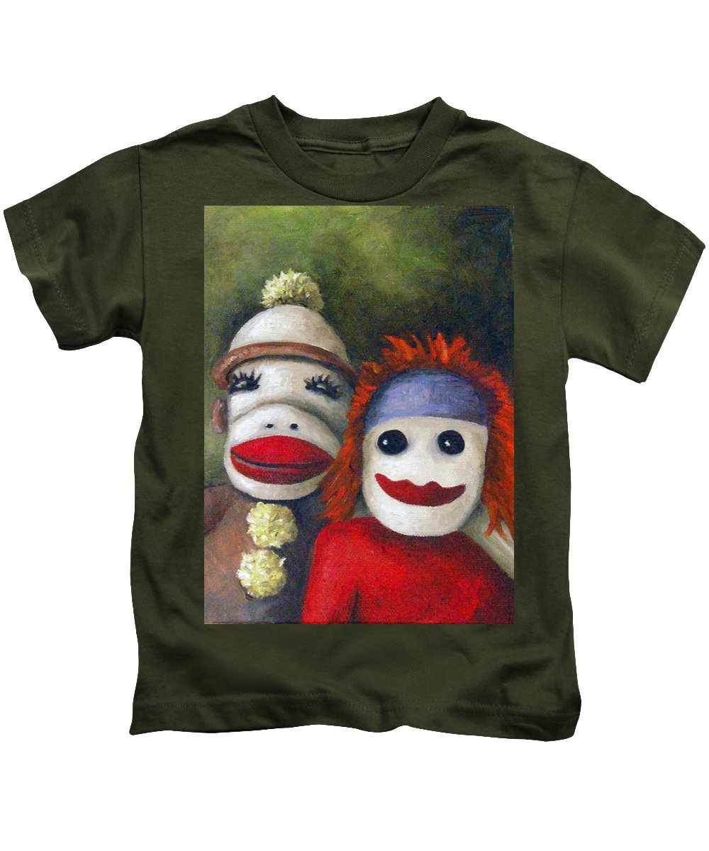 Sock Doll Kids T-Shirt featuring the painting Love Socks by Leah Saulnier The Painting Maniac