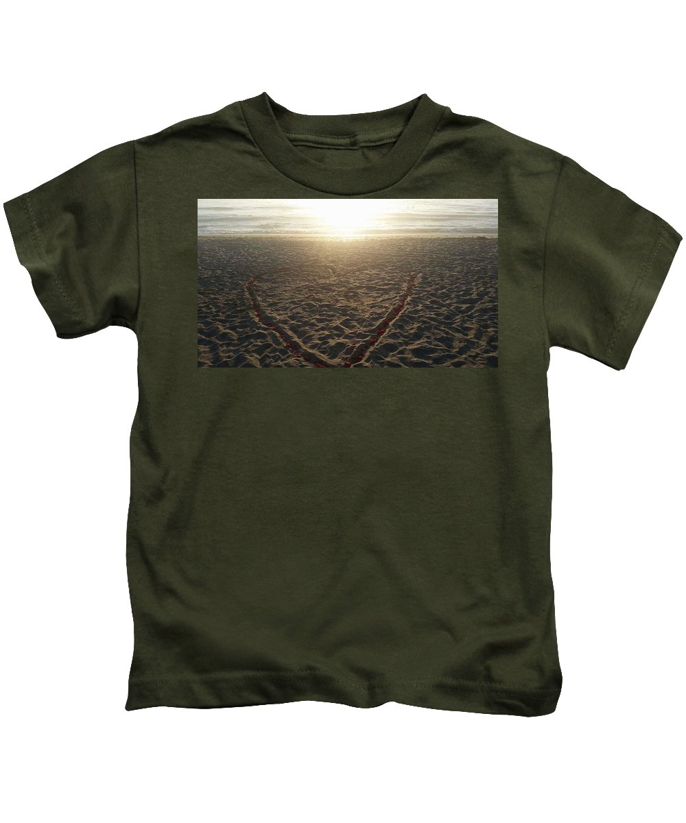 Valentine's Day Kids T-Shirt featuring the digital art Love The Beach by Jim Ferro
