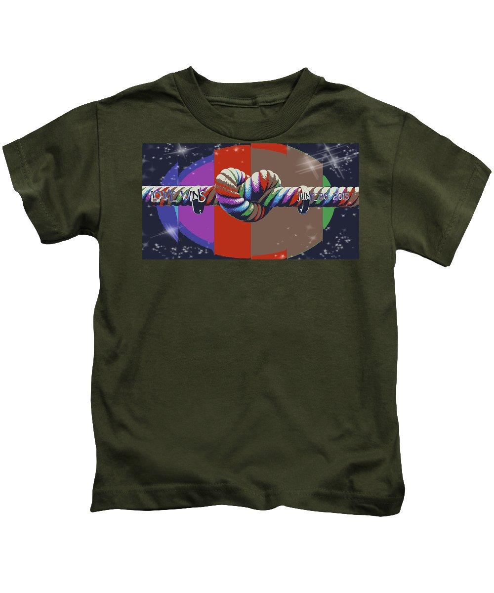 Kids T-Shirt featuring the digital art Love Wins/duke   by Patrick Osborne