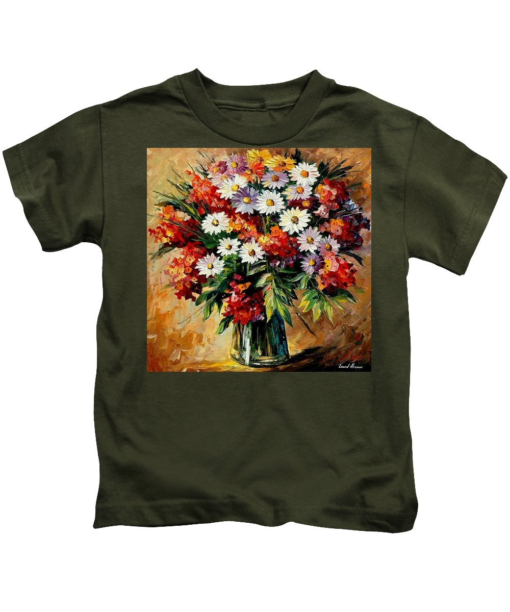 Still Life Kids T-Shirt featuring the painting Lovely Bouquet by Leonid Afremov