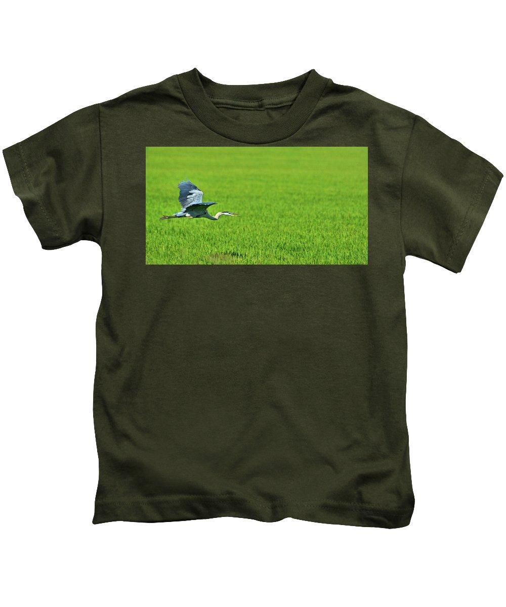 Bird Kids T-Shirt featuring the photograph Low Flight by Josephine Buschman