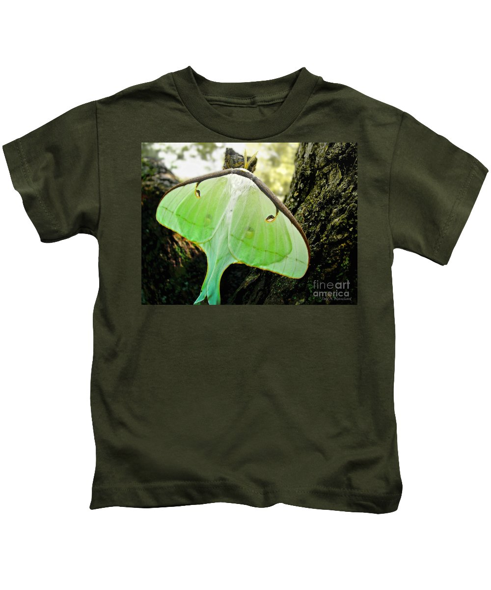 Macro Kids T-Shirt featuring the photograph Luna Moth No. 3 by Todd Blanchard