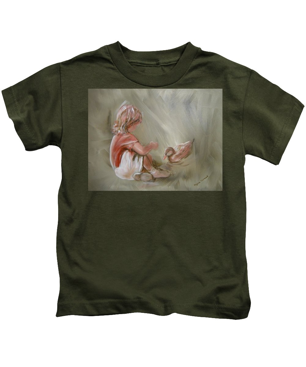 Girl Kids T-Shirt featuring the painting Lunch Pals by Regina Walsh