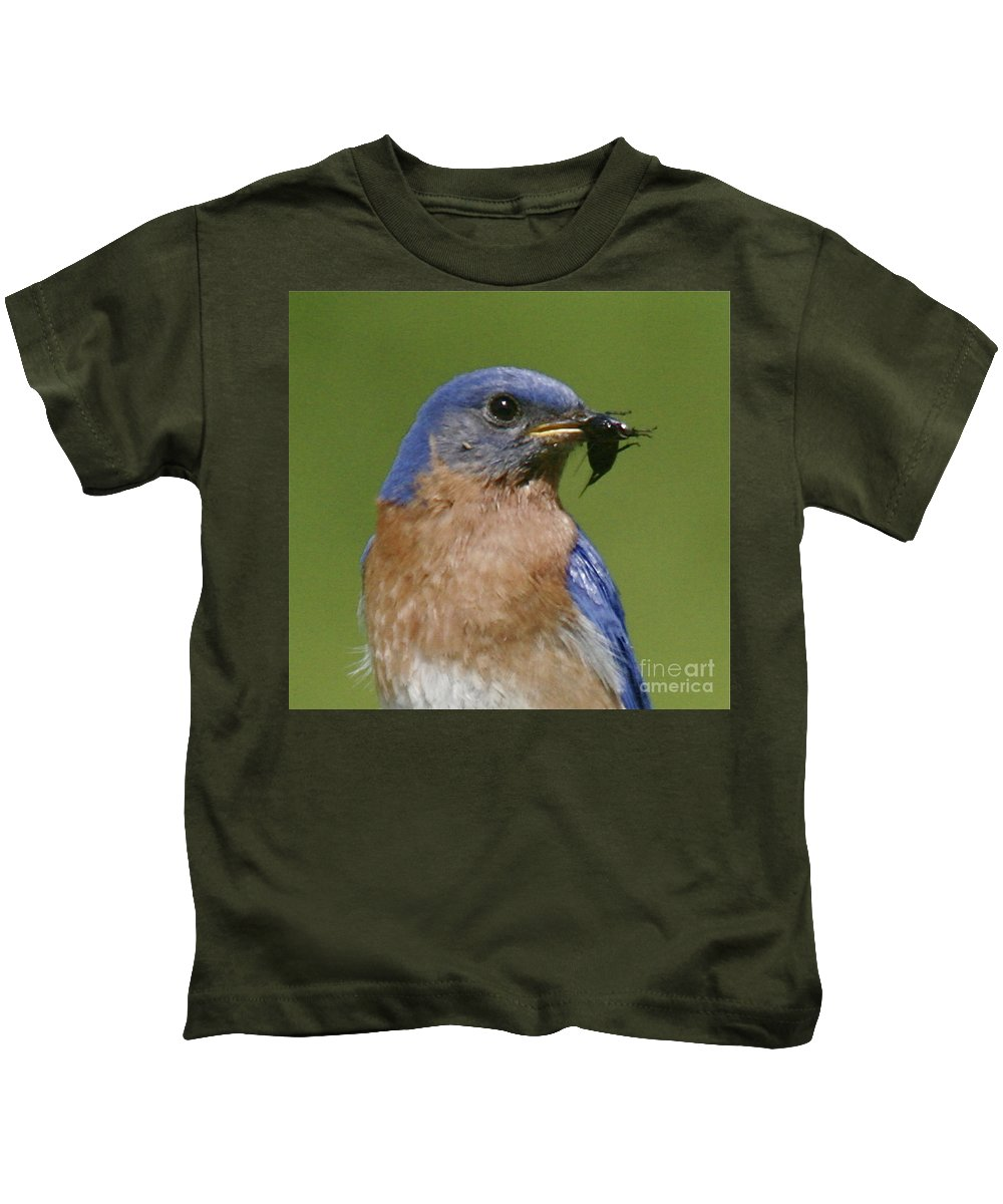 Blue Bird Kids T-Shirt featuring the photograph Lunch Time Blues by Robert Pearson