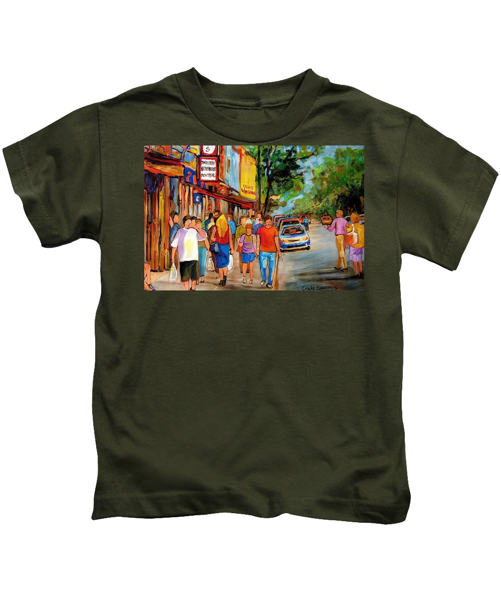 Montreal Streetscenes Kids T-Shirt featuring the painting Lunchtime On Mainstreet by Carole Spandau