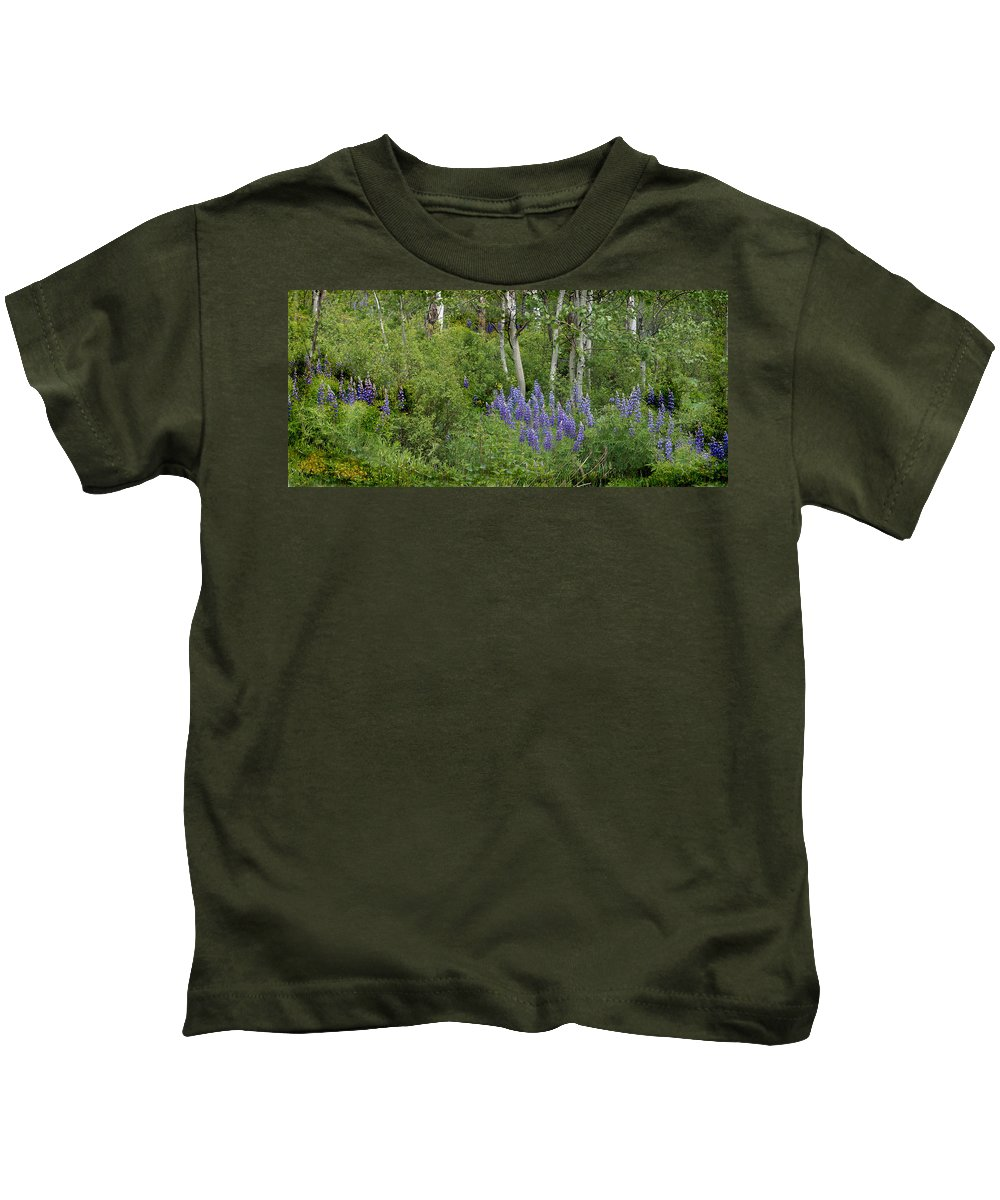 Aspen Kids T-Shirt featuring the photograph Lupine And Aspens by Heather Coen